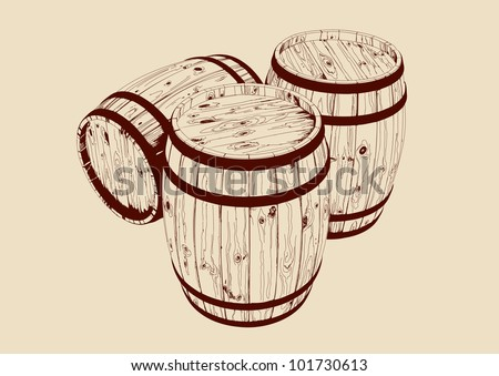barrel drawn vector llustration