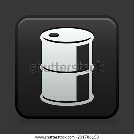 Barrel Icon on Black and White Button  - stock vector