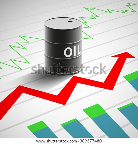 Barrel of oil on the background of graphs and charts. Financial background. Stock Vector illustration. - stock vector