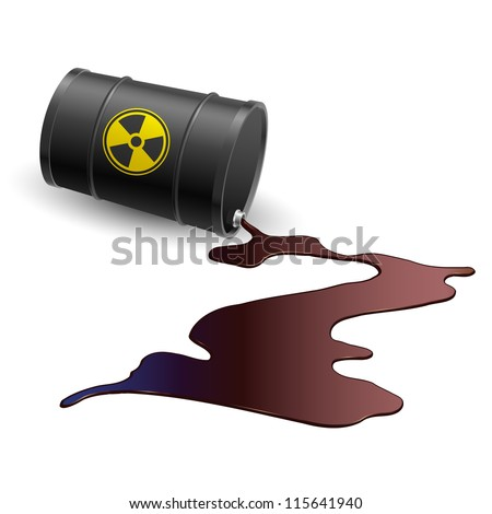 Barrel throwing toxic liquid. Illustration on white - stock vector