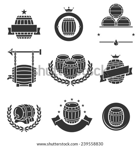 Barrels label collection set. Vector  - stock vector