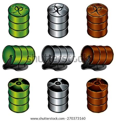 Barrels of toxic substances - stock vector