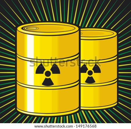 barrels with nuclear waste (barrel radioactive waste, radioactive tank and warning sign, barrels with radioactivity waste symbol, toxic barrels, radiation symbol) - stock vector