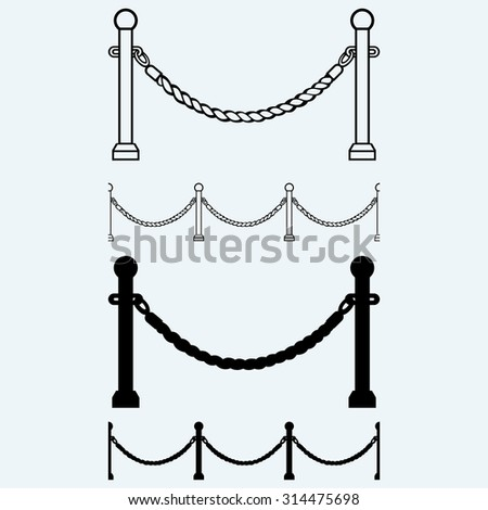 Barrier rope. Isolated on blue background - stock vector