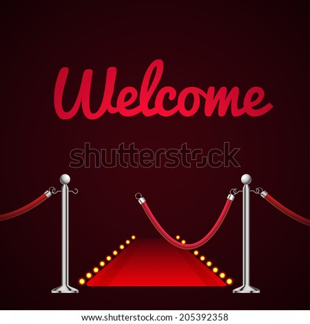 Barrier rope with welcome - stock vector