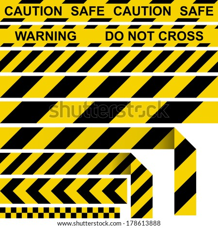 Barrier tape. Restrictive tape yellow and black colors. - stock vector