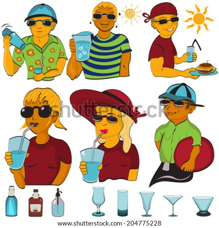 Bartender illustration set. - stock vector