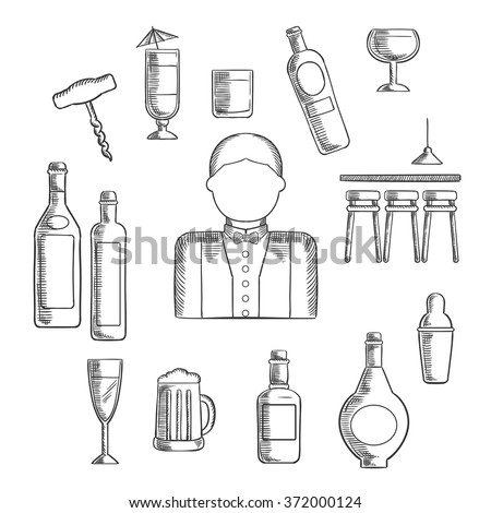 Bartender profession with bar counter, alcohol bottles, shaker, corkscrew, cocktails, beer tankard, wine glass and male in uniform with bow tie - stock vector