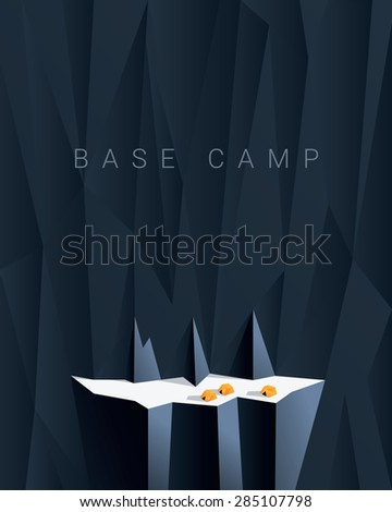 Base camp mountain expedition background. Low polygonal illustration with yellow tents. Can be used as business template for projects. Eps10 vector illustration. - stock vector