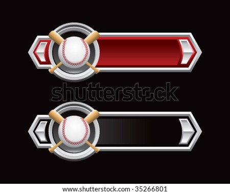 baseball and crossed bats on arrow banner - stock vector