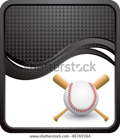 baseball and crossed bats on black checkered wave backdrop - stock vector