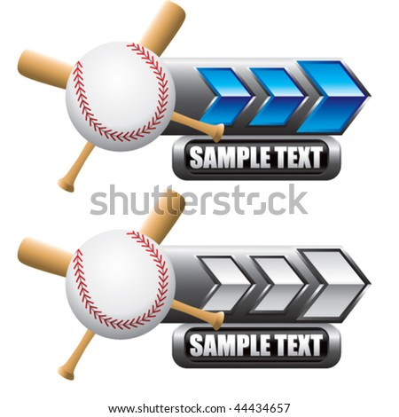 baseball and crossed bats on blue and white nameplate banners - stock vector