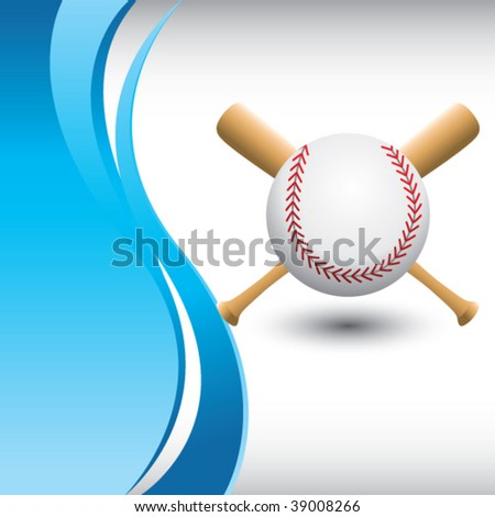 baseball and crossed bats on blue wave backdrop - stock vector