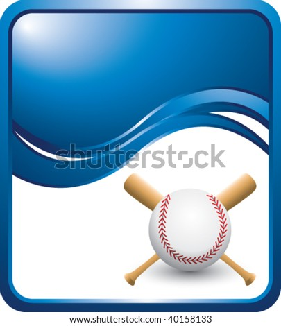 baseball and crossed bats on blue wave background - stock vector