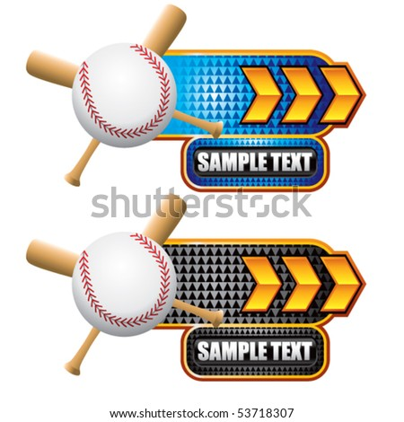 baseball and crossed bats on gold arrow nameplates - stock vector