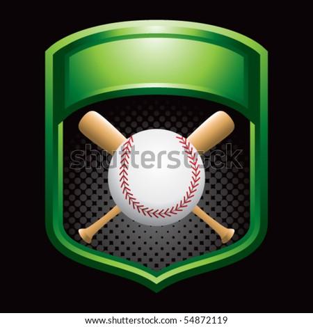 baseball and crossed bats on green display - stock vector