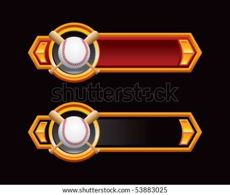 baseball and crossed bats on red and black arrows - stock vector