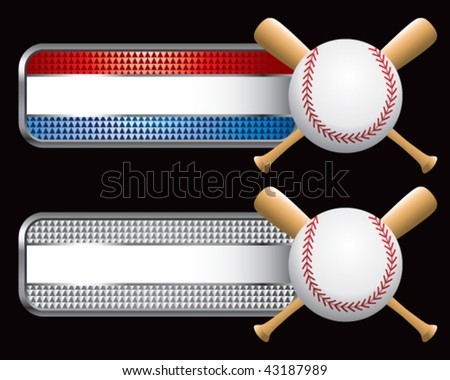 baseball and crossed bats on striped checkered banners - stock vector