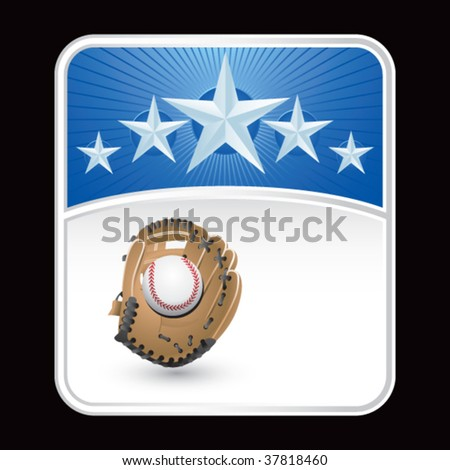 baseball and glove on blue star background - stock vector