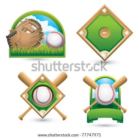 Baseball and glove on grass, baseball diamond, baseball diamond with crossed bats, and baseball with crossed bats in a green banner - stock vector