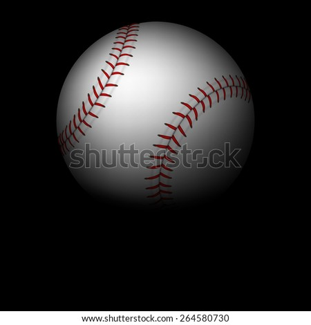 Baseball background - ball with red ribbon in to the sky