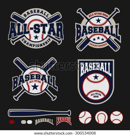 Baseball badge logo design For logos, badge, banner, emblem, label, insignia, T-shirt screen and printing - stock vector