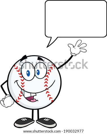 Baseball Ball Cartoon Character Waving For Greeting With Speech Bubble. Vector Illustration Isolated on white