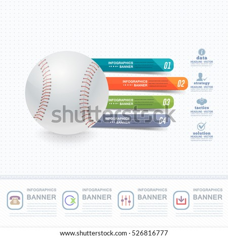 Baseball Ball Infographics Background Design and Sports Web Banner, Stats, Realistic Vector Elements