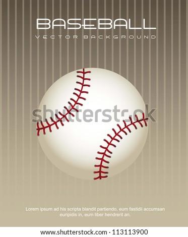 baseball ball over brown background. vector illustration - stock vector