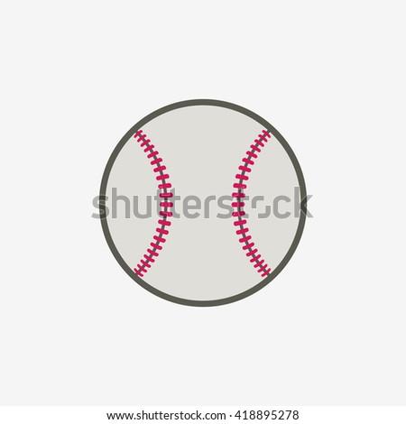 Baseball ball vector icon, sport equipment - stock vector