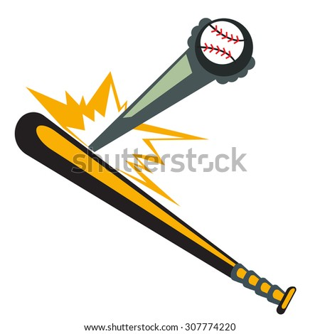 Baseball Bat Hitting the Ball. Illustration, Vector - stock vector