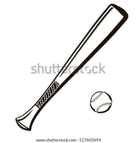 Wooden Baseball Bats Drawings Baseball Bat With a Ball