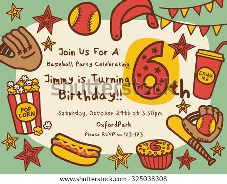 Baseball Birthday Party Invitation - stock vector