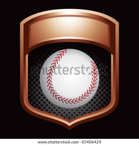 baseball bronze shiny display - stock vector