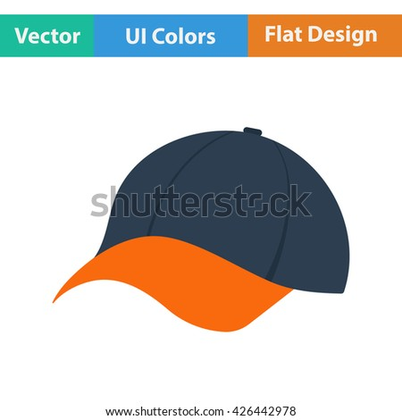 Baseball cap icon. Flat design. Vector illustration.