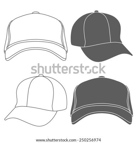 Baseball Cap Outline Silhouette Template isolated on white. Vector illustration - stock vector