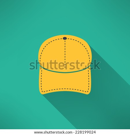 Baseball cap with long shadow. National American clothing concept. Vector illustration - stock vector