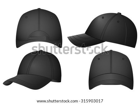 Baseball caps set on a white background.