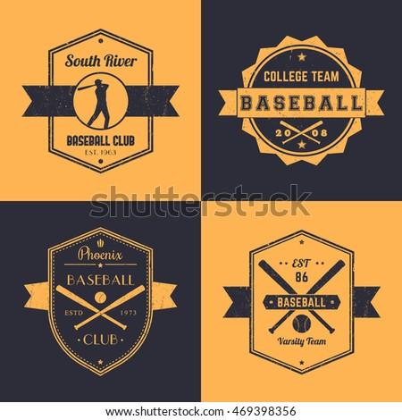 Baseball Club Team Vintage Logo Badges Emblems Player At Bat