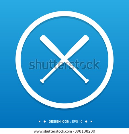Baseball Crossed Bats icon Vector EPS10, Great for any use. - stock vector