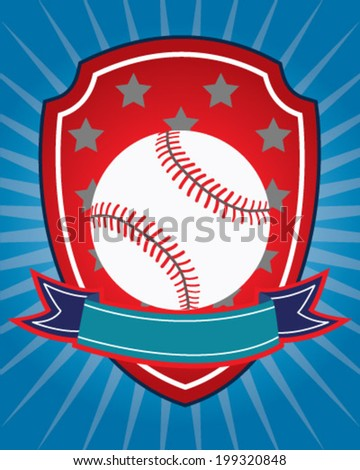 Baseball design in vector for shirt or card