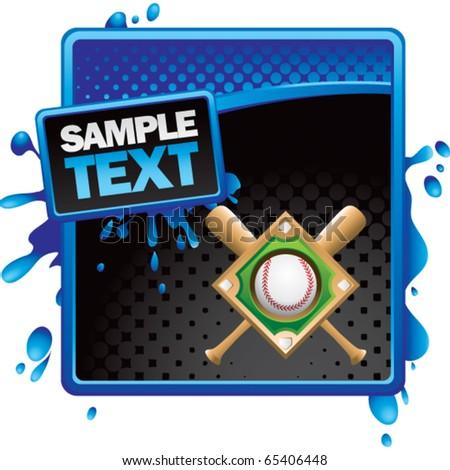 baseball diamond blue and black halftone grungy ad - stock vector