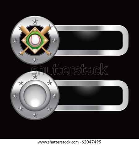 baseball diamond metal banners - stock vector