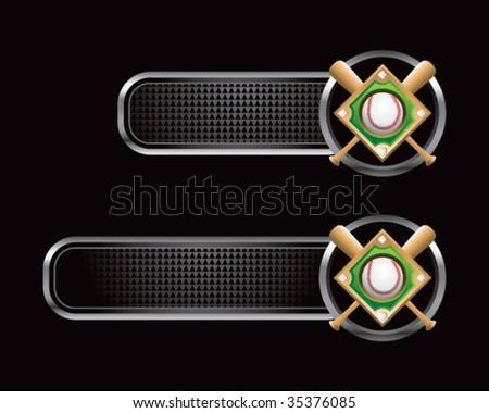 baseball diamond on black tabs - stock vector