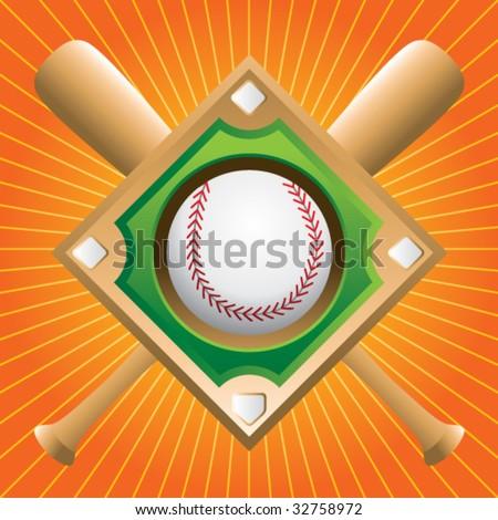 baseball diamond on crossed bats on starburst - stock vector