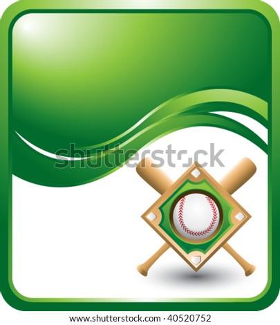 baseball diamond on green wave background - stock vector