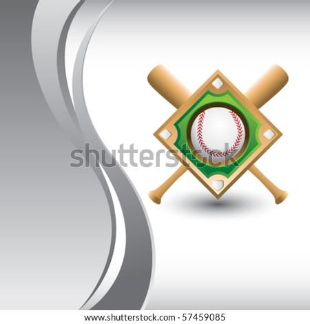 baseball diamond vertical silver wave - stock vector