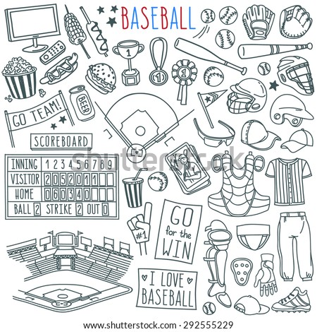 Baseball Doodle Set Special Equipment Players Stock Vector 292555229