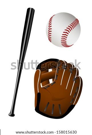 Baseball equipment eps8 - stock vector