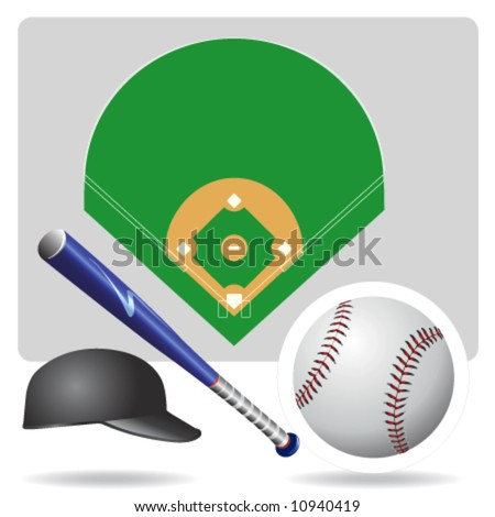 baseball field, ball and accessories vector - stock vector